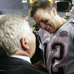 Tom Brady celebrates with Patriots owner Robert Kraft after defeating the Eagles in Super Bowl XXXIX